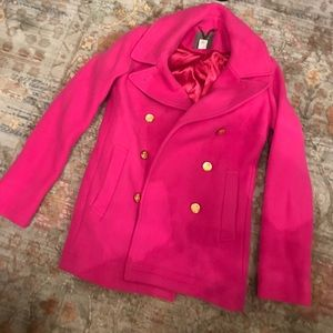 Beautiful hot pink J. Crew peacoat!